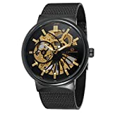 FORSINING Men's Popular Mechanical Hand-wind Ultra Thin Stainless Steel Bracelet Mesh Skeleton Watch