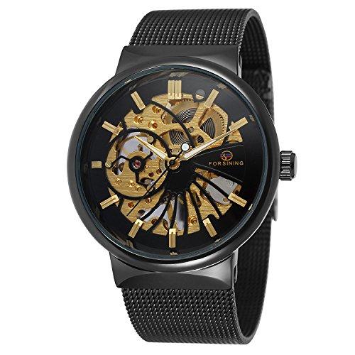 FORSINING Men's Popular Mechanical Hand-wind Ultra Thin Stainless Steel Bracelet Mesh Skeleton Watch