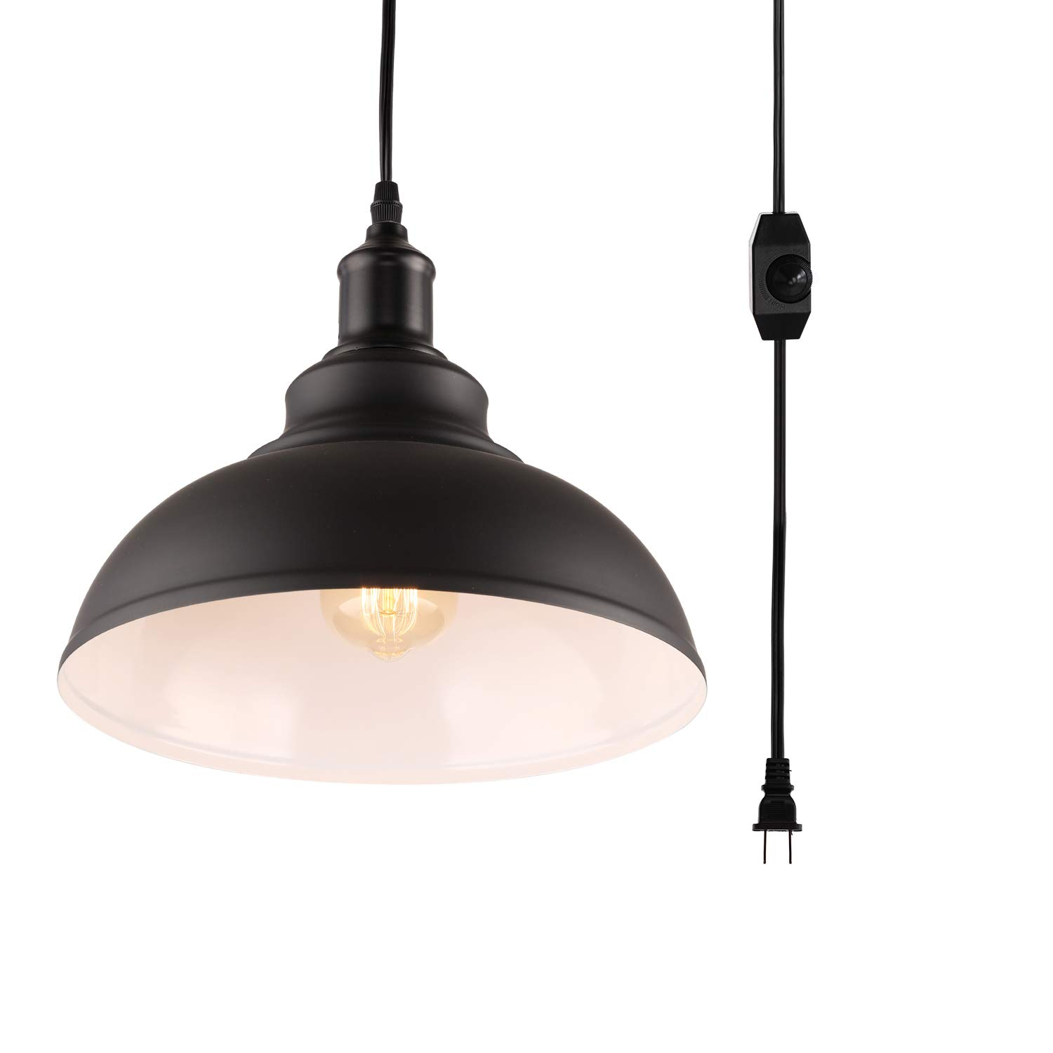 HMVPL Industrial Barn Pendant Light with Plug in Cord and On/Off Dimmer Switch, Metal Hanging Ceiling Lamp for Kitchen Island, Dining Room, Bedroom or Barn