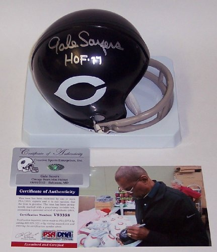 gale sayers signed mini helmet - 5