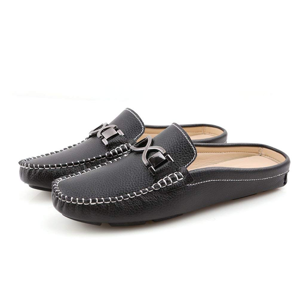 xiaochong Mens Buckle Leather Slippers Slip-on Loafters Shoes Leisure Loafers