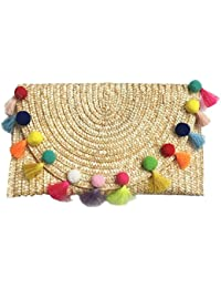 Straw Pom Pom and Tassel Clutch - Colorful Summer Bag