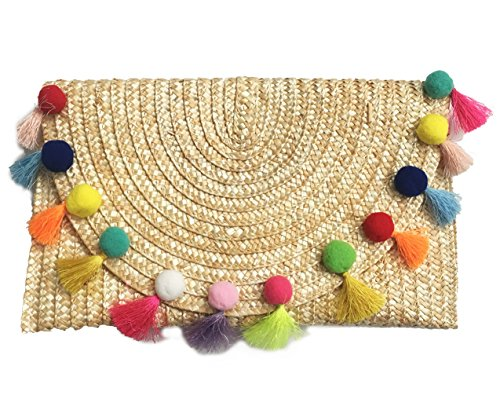 Straw Pom Pom and Tassel Clutch - Fashion Bag for Summer (Straw-Multi)