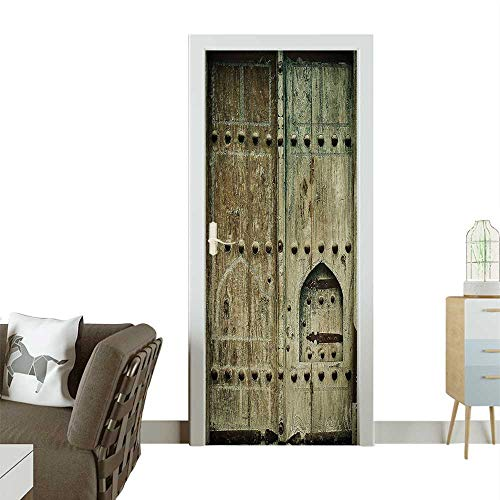 Homesonne Decorative Door Decal Ancient Doors Antique Historic Architecture Aged ive Oriental Image Stick The Picture on The doorW31 x H79 -