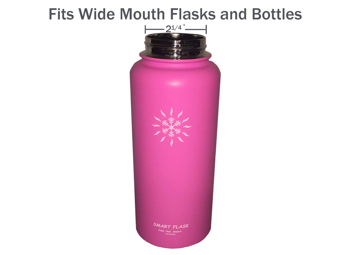 Smart Flask Biteproof Straw lid Replacement for Wide Mouth Flasks and Bottles with 2 lids 4 Straws and 2 Straw Brushes