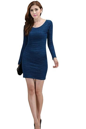64ce99e1b3 Unomatch Women s Slim Plaid Pattern Full Sleeves Dress Navy Blue (X-Small