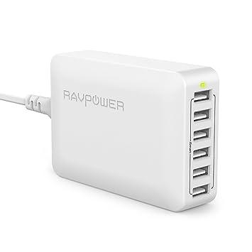 RAVPower Cargador USB 60W 12A 6-Puertos, Cargador de Red con Tecnología iSmart para iPhone, iPad, Samsung, Motorola, HTC, LG, Huawei y Más (Blanco)