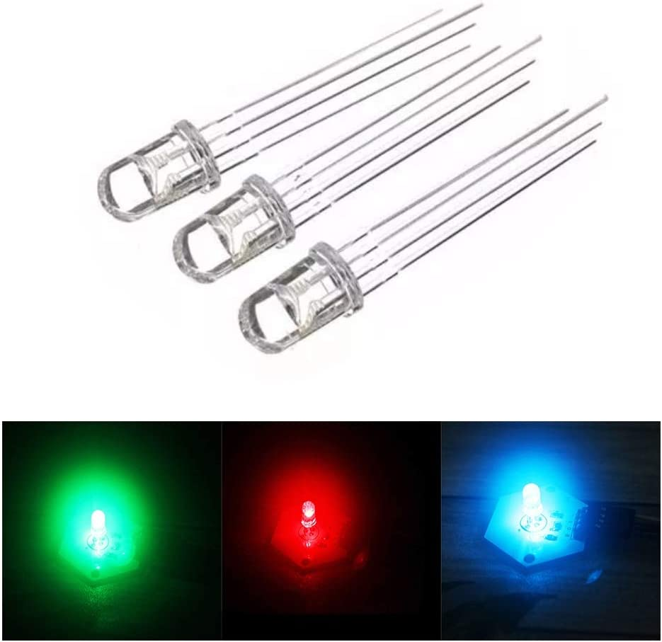 For Arduino-HENG Module Kits Accessory 10pcs 5mm RGB LED Common Cathode 4-Pin Tri-Color Emitting Diodes F5 Frosted