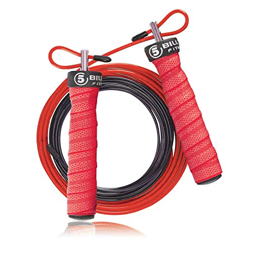 5BILLION Speed Jump Rope - Nature Handle - Adjustable with Ball Bearings - Workout for Double Unders, WOD, Outdoor, MMA & Boxing Training (Bend-red)