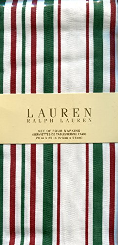 Ralph Lauren Noel Stripe Holiday Cloth Dinner Napkins, Set of Four - Ralph Lauren Contemporary Table