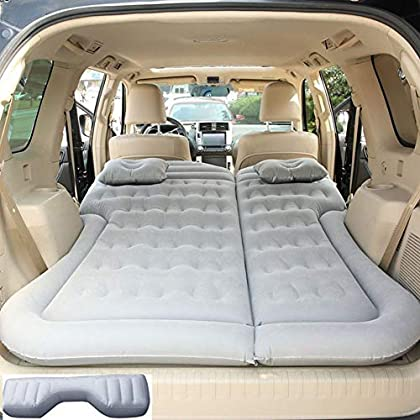 Image of Portable Car Inflatable Mattress Air Bed Camping Flocking Fabric Couch with 2 Air Pillows for Sleep, Rest, Travel and Camping for Universal SUV and MPV,Grey Home and Kitchen