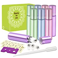 Pack of 8, 10ml Glass Roll on Bottles with Stainless Steel Roller Balls for Essential Oil-- Include 3 Extra Roller ball, 12 Pieces Labels, Essential Oils Opener, 3ml Dropper