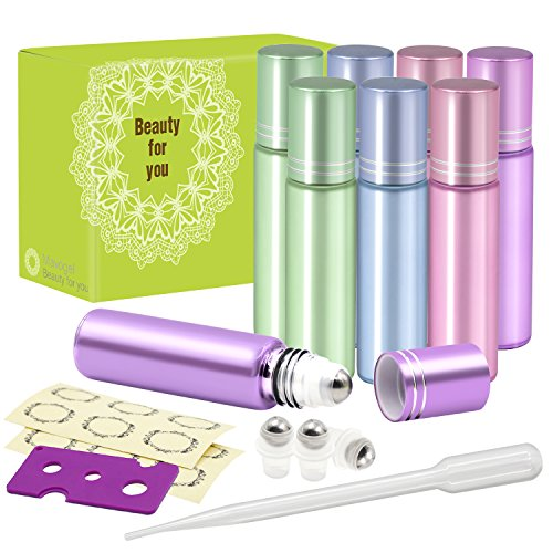 Pack of 8, 10ml Glass Roll on Bottles with Stainless Steel Roller Balls for Essential Oil- Include 3 Extra Roller ball, 12 Pieces Labels, Essential Oils Opener, 1ml Dropper