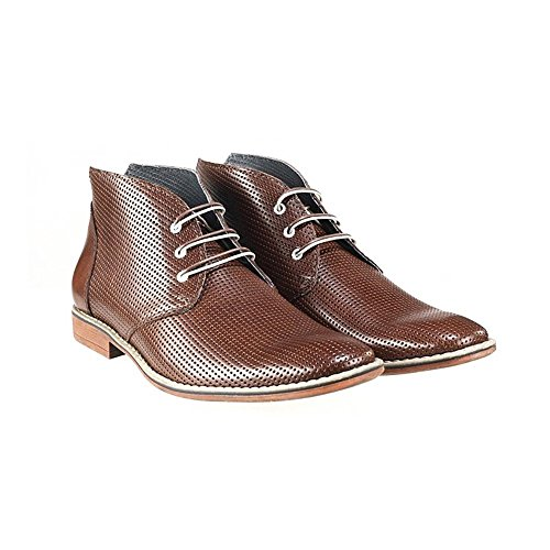 Ankle PeppeShoes Chukka Italian Embossed Mens Handmade Modello Lace Gargano Boots Up Leather Brown Cowhide Leather AqA0an