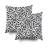 GROOTEY Decorative Cotton Square Set of 2 Pillow Case Covers Zippered Closing Home Sofa Decor Size 18X18Inch Costom Pillowcse Throw Cover Cushion,black white color leopard pattern