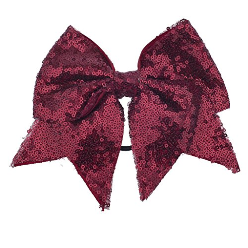 Lux Accessories Oversized Large Dark Red Burgundy Sequin Grosgrain Bow Hair - Red Oversized Bow