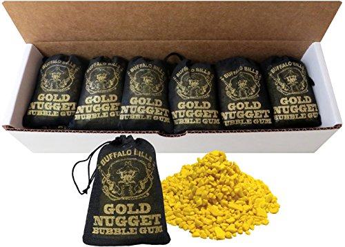 Buffalo Bills Gold Nugget Bubble Gum 15-Ct Boxes (15 black 2oz burlap bags of gold nugget gum)]()