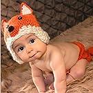 JISEN Baby Newborn Photography Props Handmade Cute Fox Set Crochet Knitted Unisex Baby Cap Outfit Photo Props
