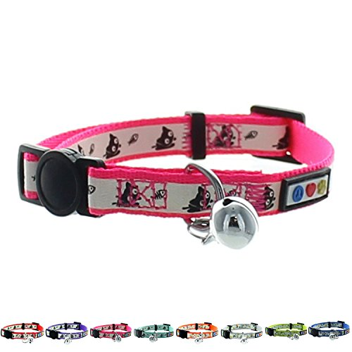 Pawtitas Pet Glow In The Dark Cat Collar with Safety Buckle and Bell Pink Lucky (Collar Tree Small)