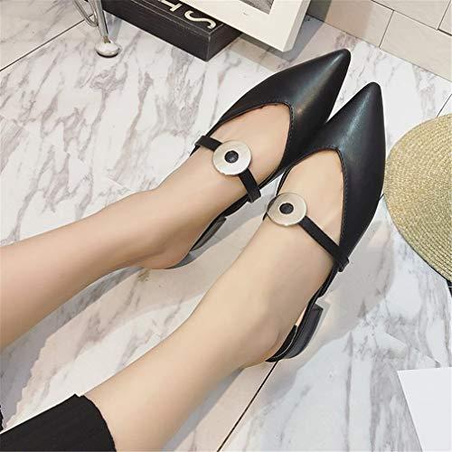 Et pour Black Tête Femmes YUCH avec Épaisses Pointue Pantoufles des Une Chaussures 05q5ORgw