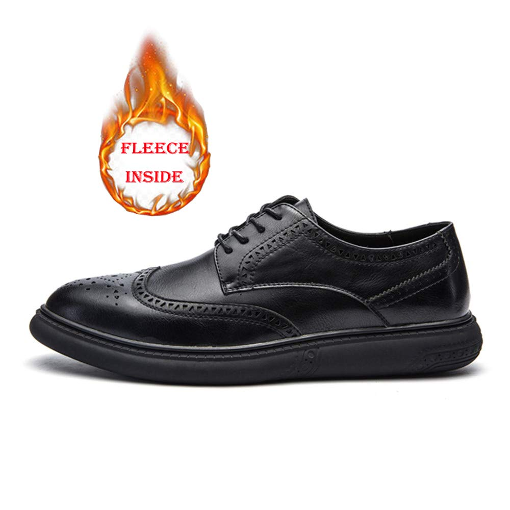Hilotu Clearance Men's Casual Soft Bottom Regular Cotton Warm Brogue Shoes Wingtip Comfort Formal Business Oxfords (Color : Warm Black, Size : 9 D(M) US) by Hilotu-shoes (Image #3)