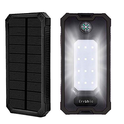 Solar Power Bank 10000mAh Solar Charger Waterproof Portable External Battery USB Charger Built in LED Light with Compass for iPad iPhone Android Cellphones (Black) (Moving Light Phone Charger)