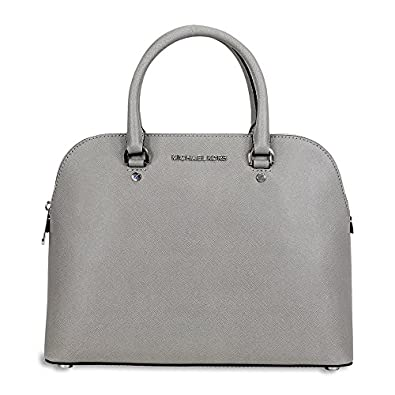 7a09ef1459e465 Michael Kors Cindy Large Saffiano Leather Satchel - Pearl Grey:  Amazon.co.uk: Shoes & Bags