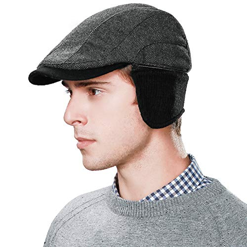 (Men 46% Wool Elmer Fudd Fitted Hunt Newsboy Hat Winter Driver Cap Earflap Eermuffs Black)