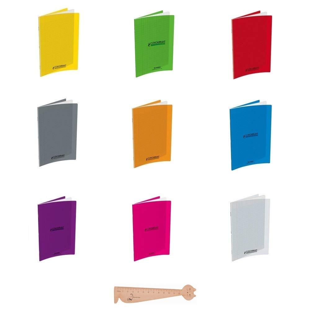Lot de 9 Cahiers Hamelin 24 x 32 - 96 Pages - Couverture Polypro - Grands Carreaux Seyes Couleurs Assorties + 1 Règle Marque-Page en Bois Blumie Blumie Shop