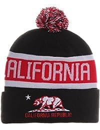 California Republic Bear Cuff Pom Pom Beanie Knit Hat Cap (One Size 5be1ebf2ca40