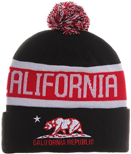 8fba215a388 Image Unavailable. Image not available for. Color  California Republic Bear Cuff  Pom Pom Beanie Knit Hat Cap (One Size