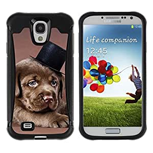 Suave TPU Caso Carcasa de Caucho Funda para Samsung Galaxy S4 I9500 / Chocolate Retriever Puppy Brown Dog Hat / STRONG
