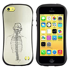 Be-Star Colorful Printed Design Anti-Shock Iface First Class Tpu Case Bumper Cover For Apple iPhone 5C ( skeleton spine art black white pencil drawing ) Kimberly Kurzendoerfer