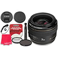 Canon EF 28mm f/1.8 USM Wide Angle Lens with Elite Optics Commander Pro HD Series Ultra-Violet Protector UV Filter & Circular Polarizer CPL Multi-Coated Filter - International Version