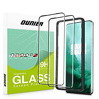 OUNIER OnePlus 7 Pro Screen Protector 2-Pack [Easy Install Tray] [9H Hardness] [Full Coverage] Protective Film HD Clear Tempered Glass Screen Protector for OnePlus 7 Pro Smartphone