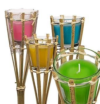 Bambus Gartenfackel Mit Citronellakerze Im Glas Ca 75 Cm
