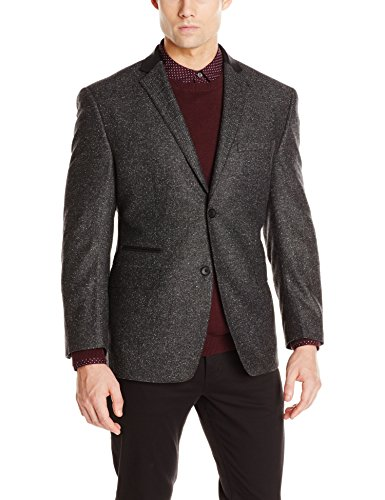 Andrew Marc Two Button Blazer (Andrew Marc Men's Costa Marled Herringbone Sport Coat, Grey, 42 Regular)