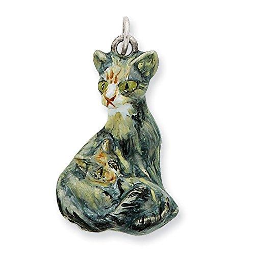 Argent 925/1000 chat persan émaillé avec Charm en forme de chaton JewelryWeb