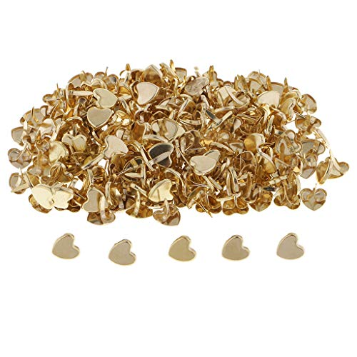 - Fenteer 200 Pieces Total Lenght 10mm Golden Plated Mini Paper Fasteners Heart Love Shape Metal Iron Brads Scrapbooking Brads Embellishments DIY Card Making