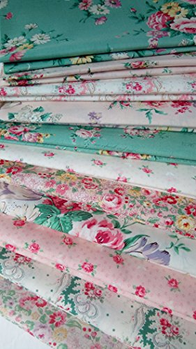 English Rose Garden Quilt Gate Japanese Cotton Quilting Fabric ~ 11 Fat Quarters Bundle ~ 2.75 Yards Total