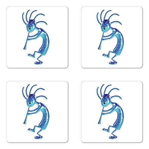 - Lunarable Kokopelli Coaster Set of 4, Kokopelli Flute Trickster Vintage Aboriginal Tribe Art Ornament Illustration, Square Hardboard Gloss Coasters for Drinks, Turquoise Blue
