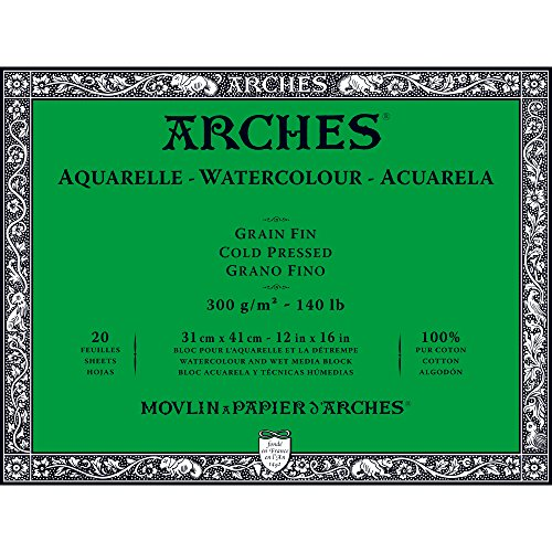 Arches Watercolor Paper Block, Cold Press, 12'' x 16'', 140 pound by Arches