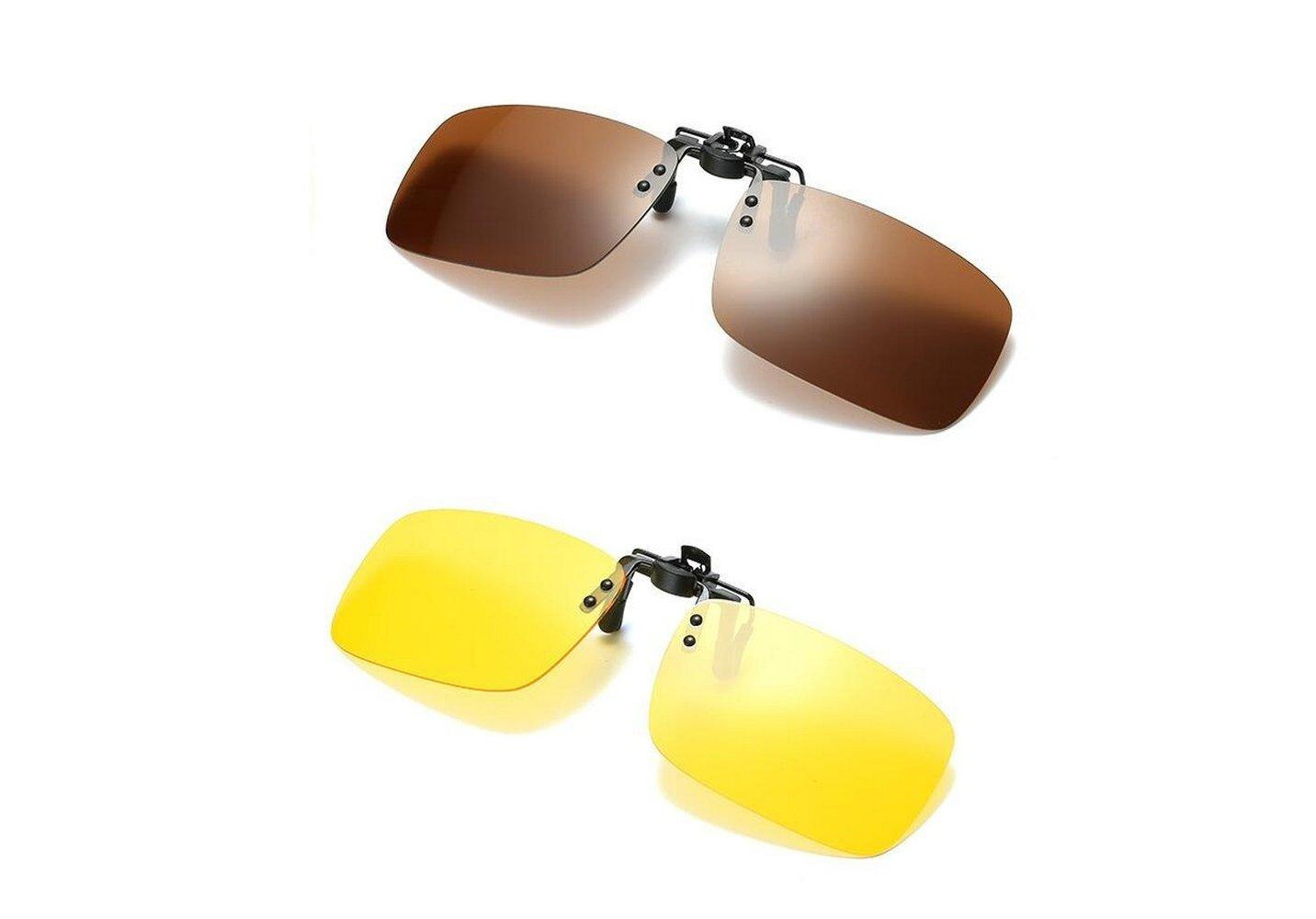 5b2e1de2b4 Gemgoo 2PCS Polarized Day Night Vision Flip-up Clip-on Lens Driving Glasses  Sunglasses (Brown (Day)+Yellow (Night))