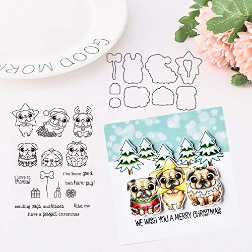 Pug Halloween Stencil (1 Set Pug Dogs Merry Christmas Metal Cutting Dies Stamp Stencil for DIY Scrapbooking Photo Album Embossing Decorative Paper Card Making Craft Dies New)