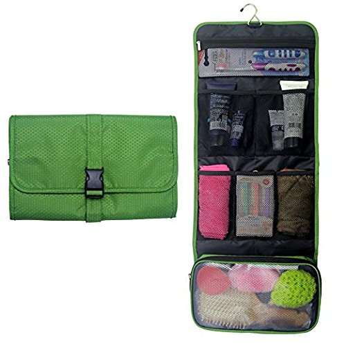 Travel Hanging Toiletry Bag Travel Kit Organizer Cosmetic Makeup Waterproof Wash Bag for Women Girls Travel Case for Bathroom Shower (Army Green)