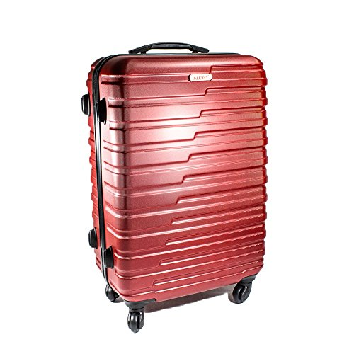 ALEKO LG915BURG ABS Luggage Travel Suitcase Set with Lock 3 Piece Horizontal Stripe Burgundy by ALEKO (Image #1)