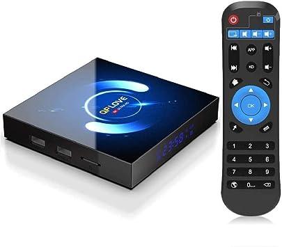 OKEU Android 10.0 TV Box 【4GB RAM+64GB ROM】QPLOVE Q6 TV Box H616 Quad-Core 64bit Cortex-A53 con 5GHz / 2.4GHz WiFi ,BT 5.0,6K UHD H.265 Smart TV Box: Amazon.es: Informática