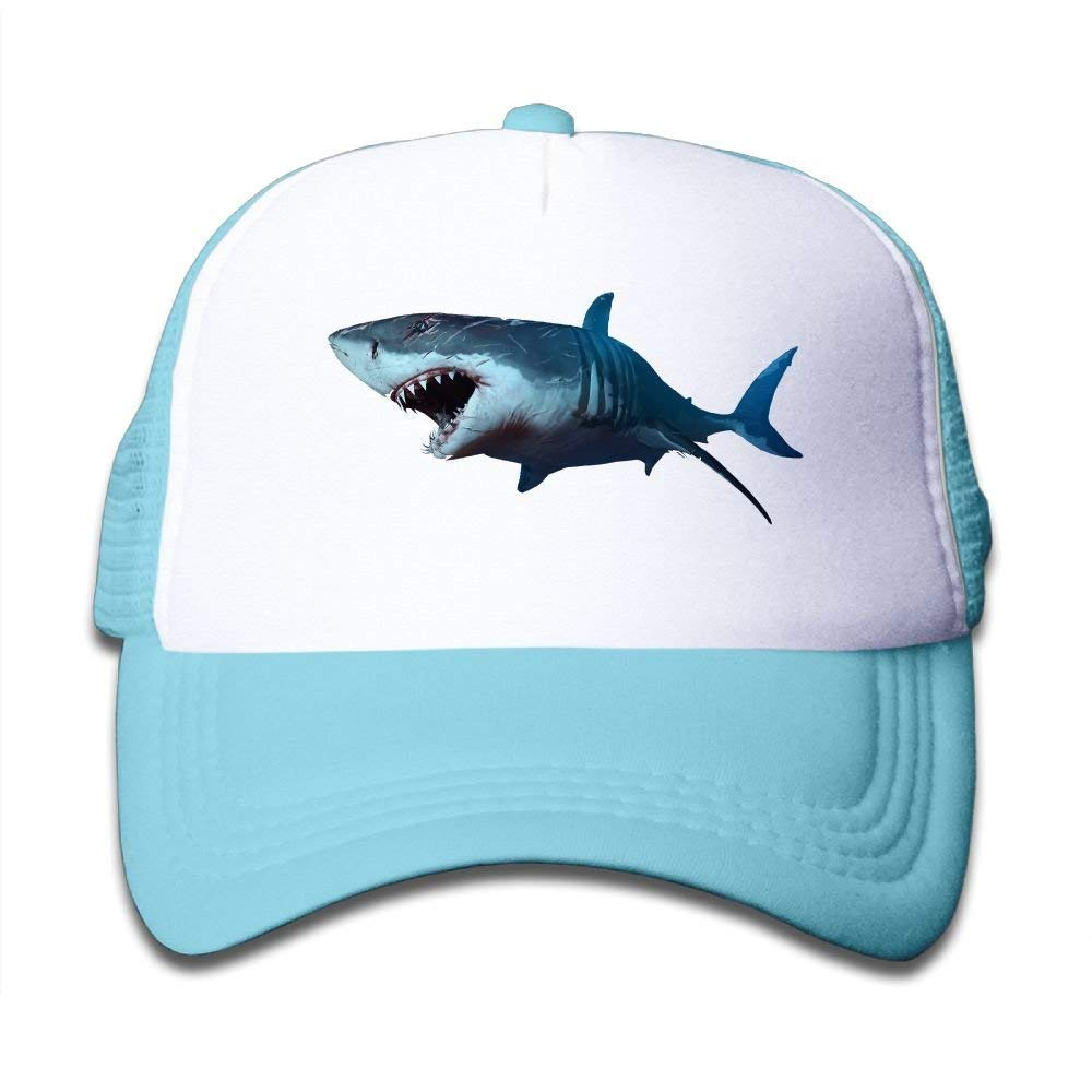Cotton Wounded Shark Baseball Hat Adjustable Kids Mesh Caps Boys-Girls