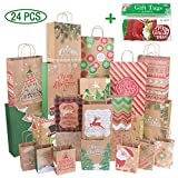24 Kraft Christmas Gift Bags Assorted Sizes with 60-Count Christmas Gift Tags(Bulk Set,6 XL,6 Large,6 Medium,6 Small): more info