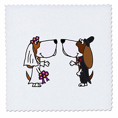 3dRose qs_201767_4 Funny Basset Hound Dogs Bride & Groom Wedding Cartoon Quilt Square, 12 by 12
